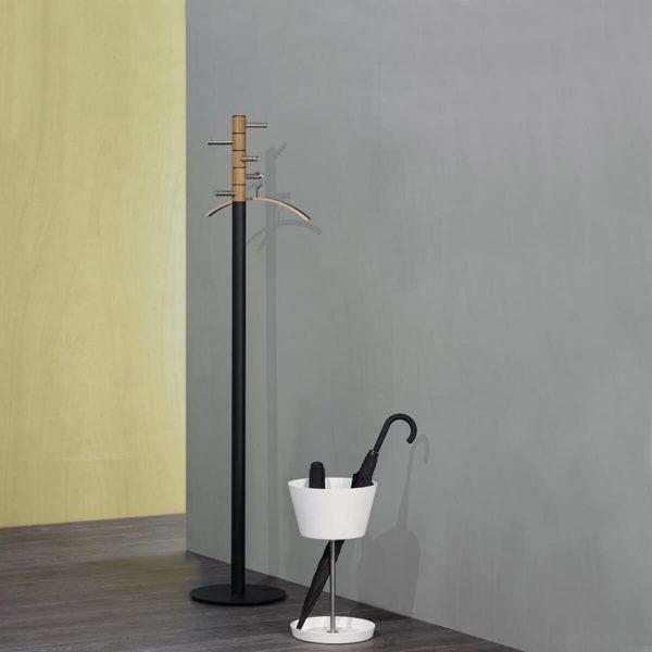 PieperConcept Parapluhouder Basket Wit met kapstok